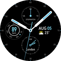 premium analog type blue color watchface