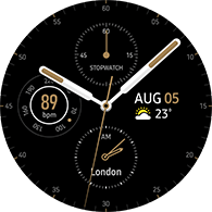 premium analog type brown color watchface
