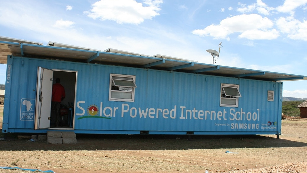 Here's a picture of the Solar Power Internet school building.