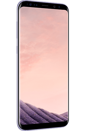 Angled left view of Galaxy S8+ in Orchid gray