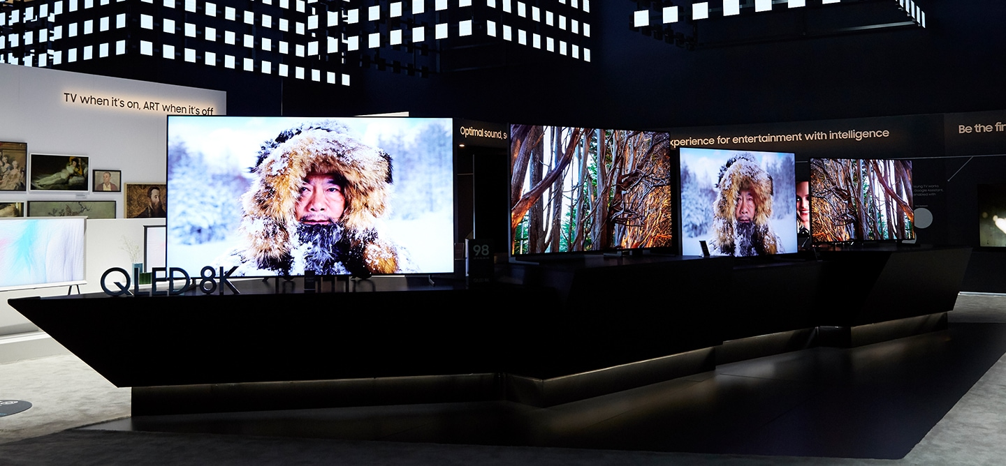 Samsung unveils the new 98 inch QLED 8K TV at CES 2019. On display at the the VD zone inside the Samsung booth at CES 2019 are select Samsung 8K TV models in various sizes, as well as Samsung's flagship lifestyle TVs, The Frame and Serif, and the micro-LED TV, The Wall.