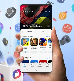 Holding a smartphone with a right hand, on which Galaxy Store application is running. TOP3 Racing Game on the top, Fortnite, Black desert and Sonic forces apps under the Featured menu are on the middle. Behind a smartphone, various app icons are spreading out from white gift box.