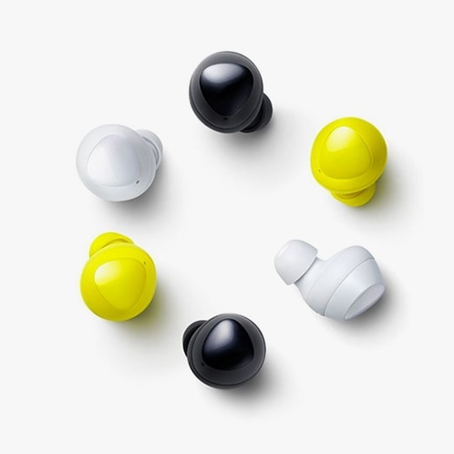Black, yellow, and white Galaxy Buds in a color-alternating circle.