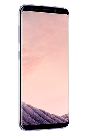 Angled left view of Galaxy S8 in Orchid gray