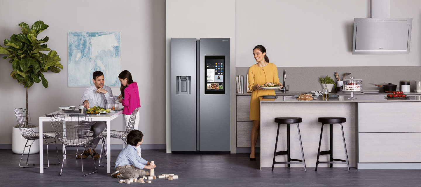 Samsung Fridges - Modern Kitchen with Family Hub Multi-Door Fridge Freezer
