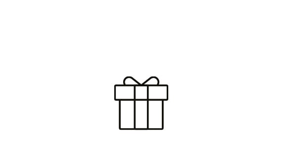 Black line icon symbol of a wrapped present with ribbon around the sides and a bow on top in front of a white background