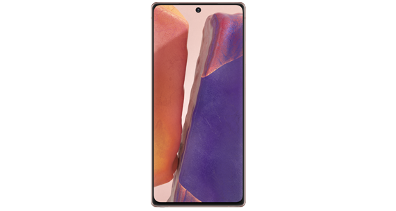 Bronze Samsung Galaxy Note 20 5G smartphone stood upright facing forwards with a purple and orange rock phone screen wallpaper