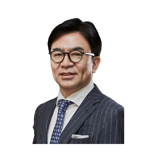 This image is a profile picture of Hyun Suk Kim, CEO, Samsung Electronics.