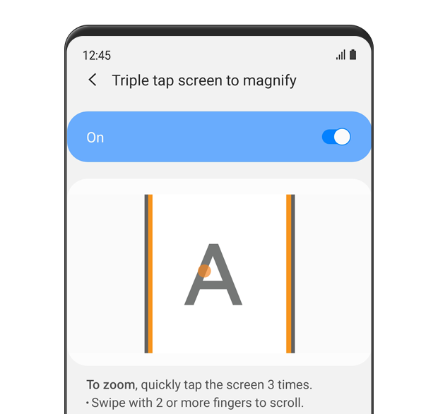 The 'Triple tap screen to magnify' menu is displayed and turned 'on'. The description text reads: To zoom, quickly tap the screen 3 times. Swipe with 2 or more fingers to scroll.