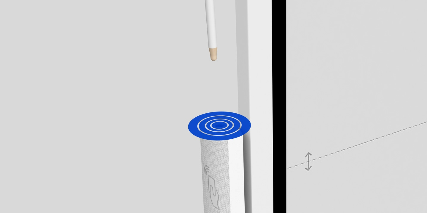 An image showing how a hall sensor operates when a user removes the pen from its dock.
