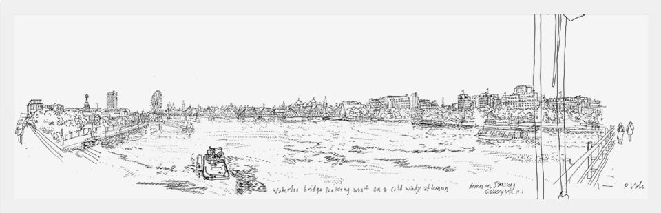 Waterloo bridge looking west, drawn by Patrick Vale on a Galaxy Note 10.1