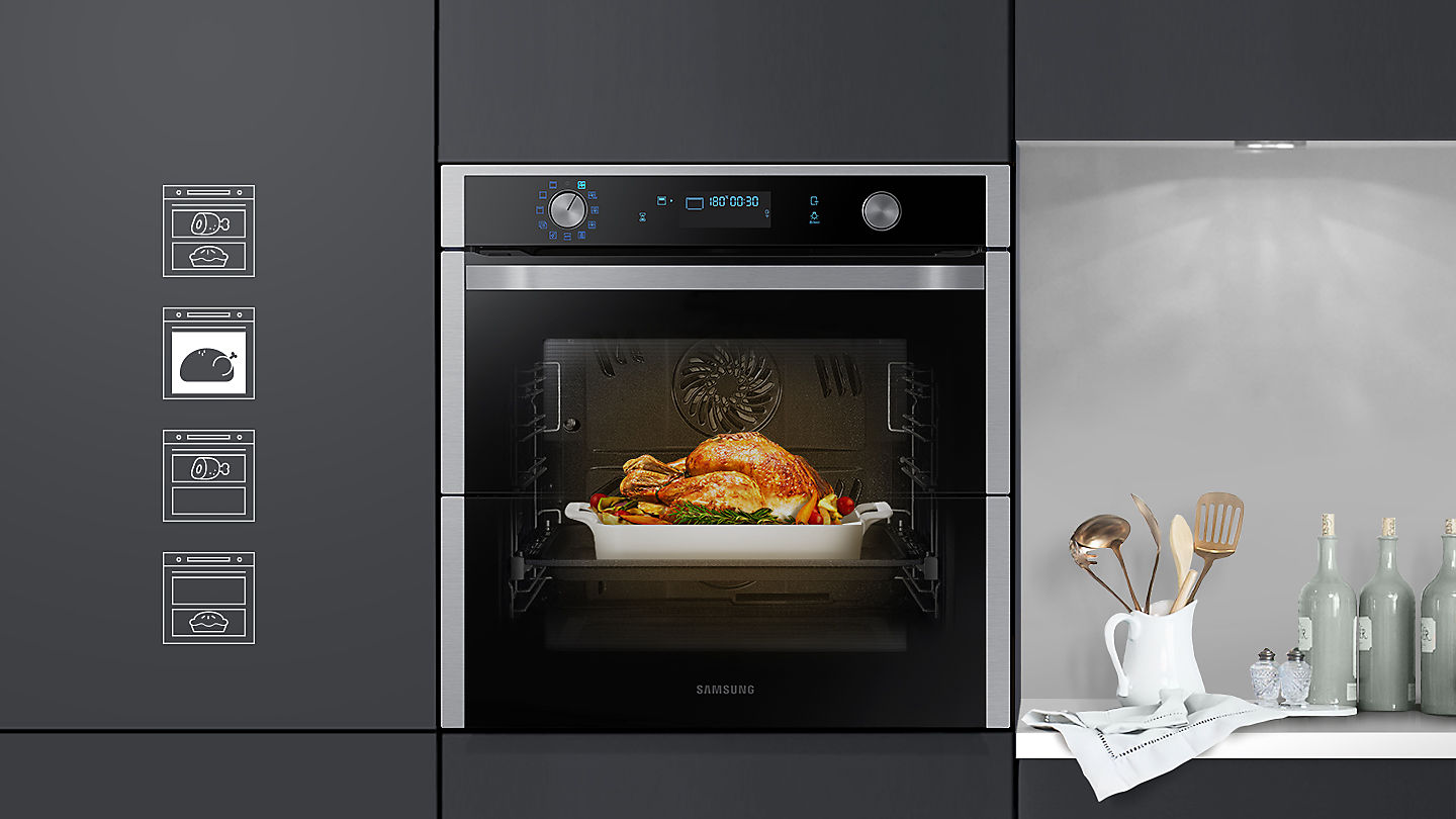 Photo of the Dual Cook Flex with a large turkey being cooked in the full oven