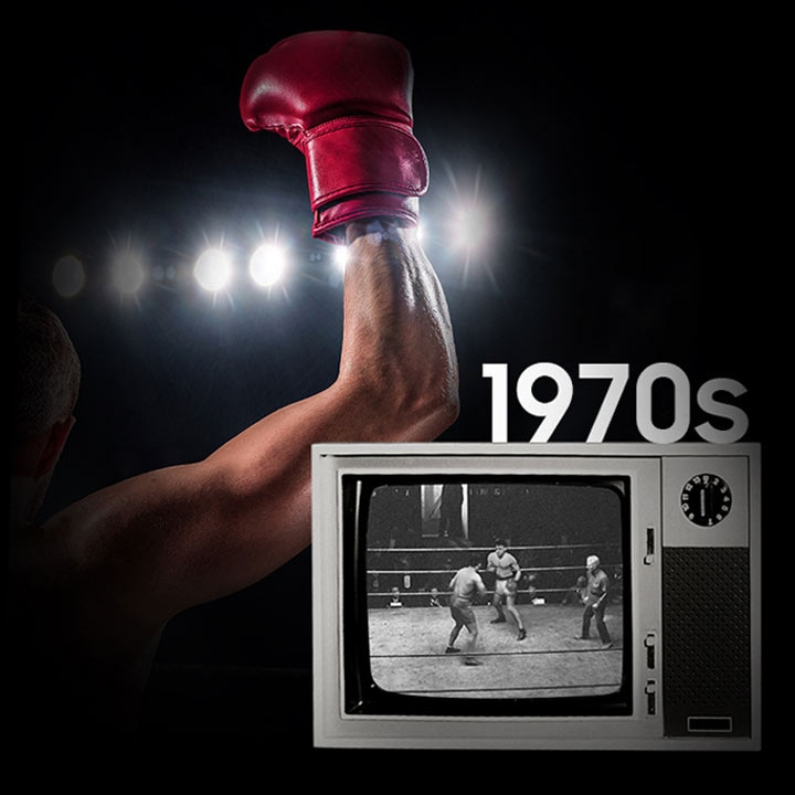 Background image of a boxer's gloved hand raised in victory, next to a 1970's era television displaying a boxing match in black and white.