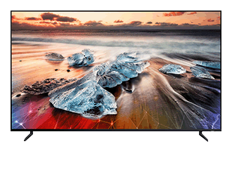 Image of a QLED 8K with colourful, high resolution landscape image showing on the screen.