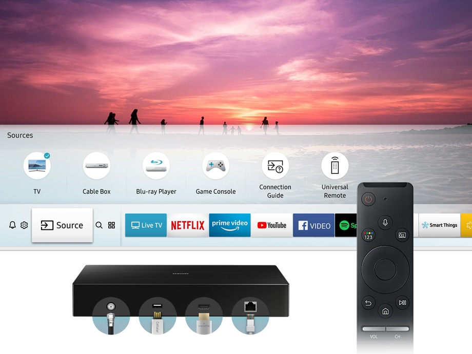 One connect box easily connects your multiple devices. No matter how many devices are connected to the TV, you can simply control them with One Remote Control.