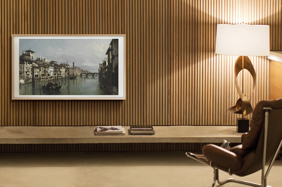 Close up of The Arno in Florence by Bernardo Bellotto displayed on The Frame TV