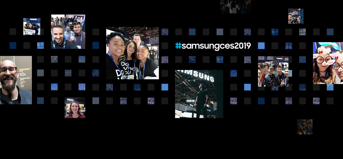 "11 social media post photographs are displayed in front of a digital cube background from the ""Samsung City"" theme at CES 2019."