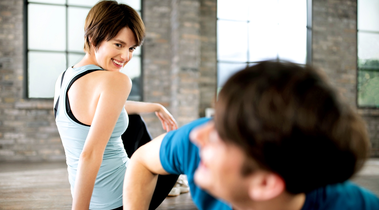 Couple prepares to start daily workout at home