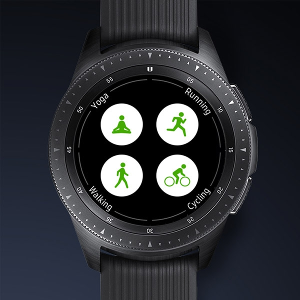 Four circular fitness icons on Galaxy Watch.