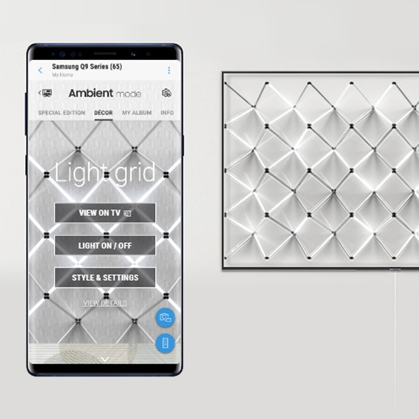 Image shows 2019 QLED's new Ambient Mode pattern 'Light Grid' and smart phone to apply the pattern through SmartThings App.