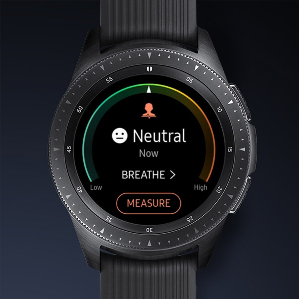 Manage stress mode on Galaxy Watch.