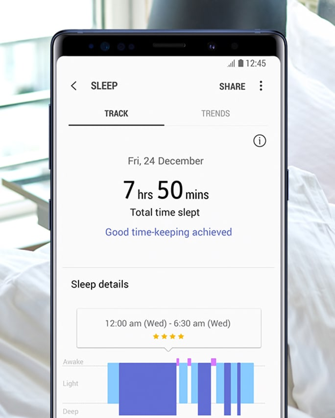 A Samsung Galaxy smartphone with the Sleep app onscreen