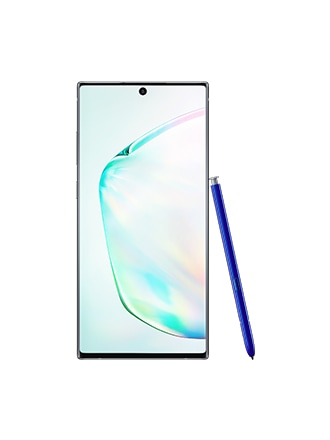 Samsung Galaxy Note10+ standing upright with a blue S Pen leaning against its side
