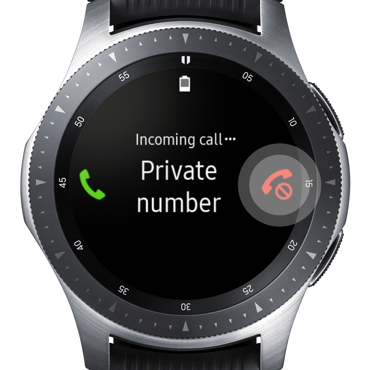 Image of the Galaxy Watch displaying an incoming call from a private number with the red reject call icon highlighted
