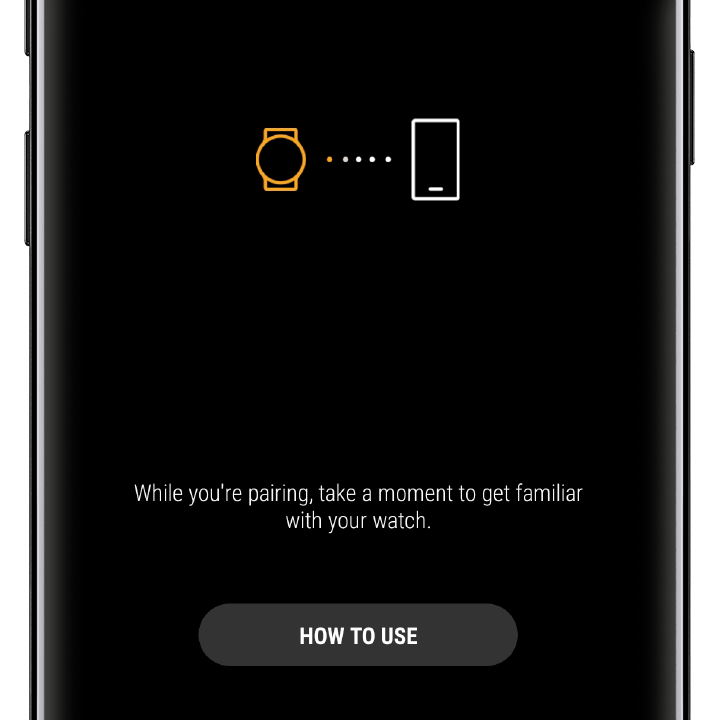 Image of an Android phone screen displaying the pairing screen with a How To Use button near the bottom