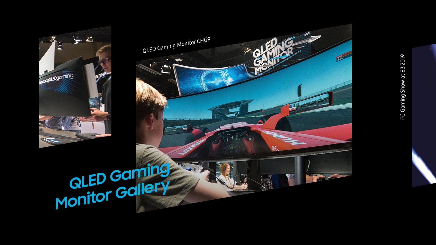 QLED Gaming Monitor Gallery. A man play game with the samsung QLED Gaming Monitor CHG9