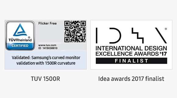 Beeld van de geprezen Samsung High Definition-schermtechnologie. TUV 1500R-certifcaat en finalist Idea awards 2017.