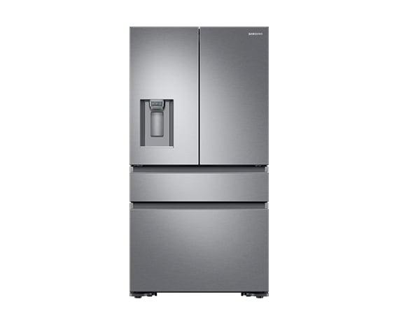 Samsung silver French style fridge freezer. Multi door large refrigerator by Samsung.