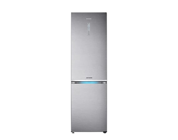 Samsung classic combi fridge freezer in silver with blue LED lights.
