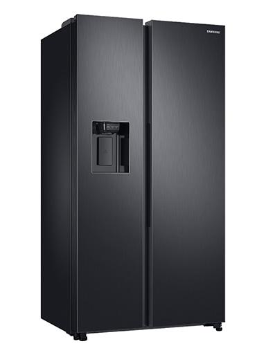 Dark grey Samsung American style refrigerator.
