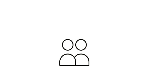 Two black line icon symbols of the upper halves of two people stood next to each other in front of a white background