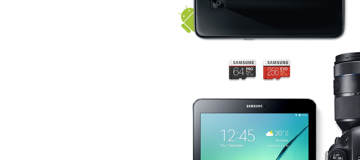 "Samsung Memory Cards - Samsung 64GB and 256GB Memory Cards with Galaxy Tab S2 9.7"" with Galaxy Camera"