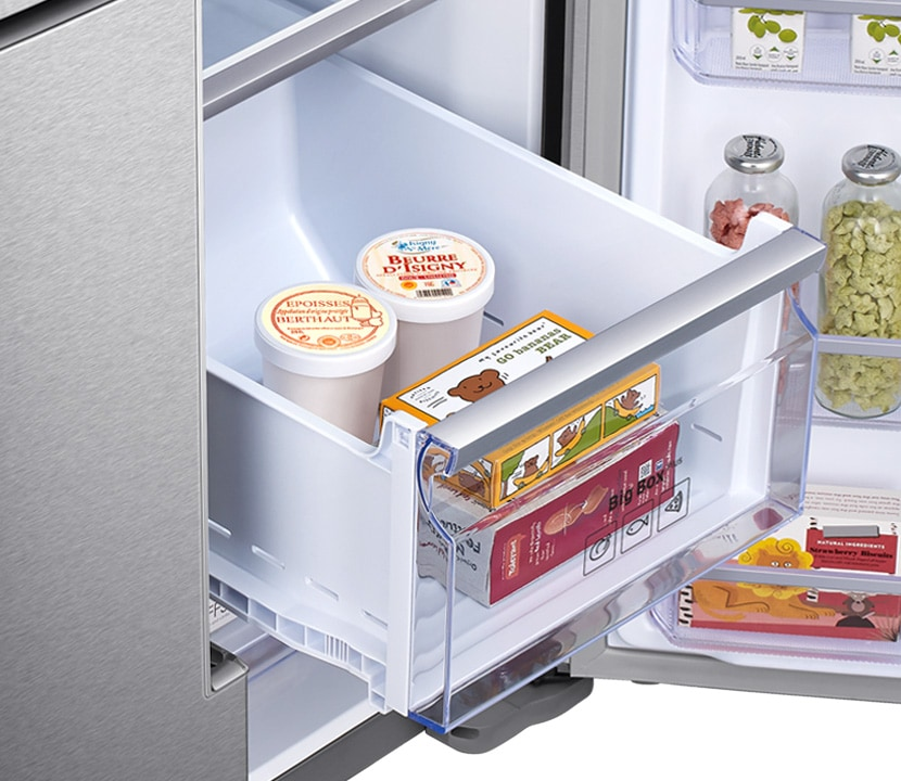a close up image of familyhub freezer drawer fully open