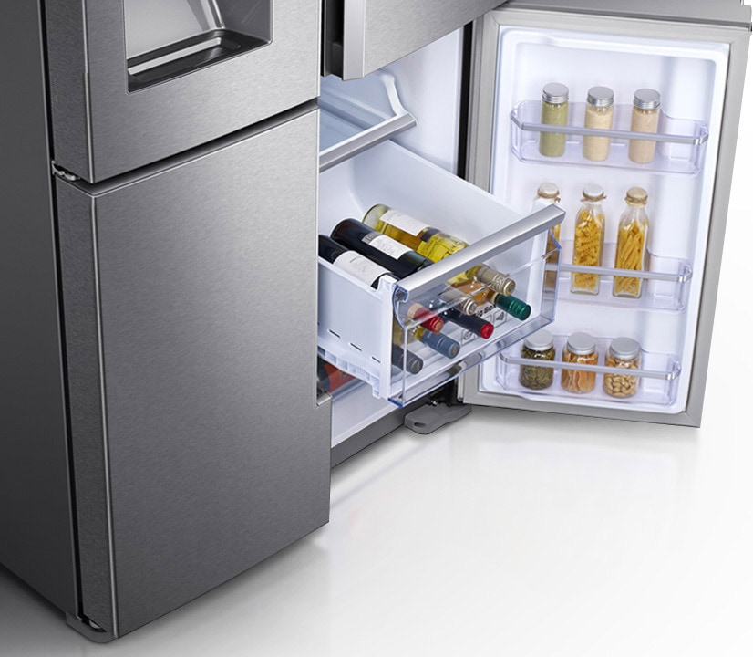 a detail image of right  familyhub freezer door open - filled with wines in chilling mode