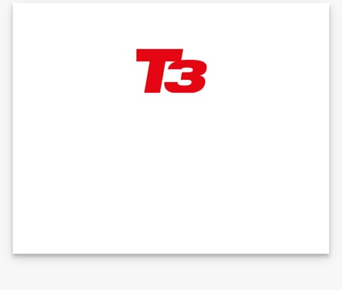 A logo with the text T3 on a white background