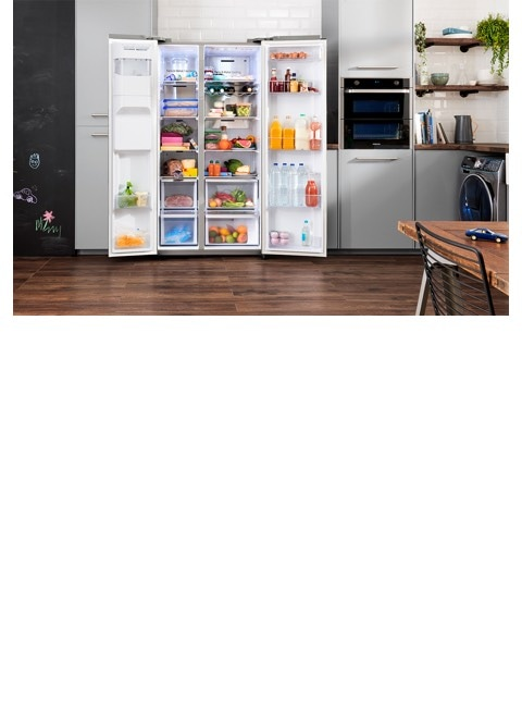 Photo of RS8000 fridge with doors wide open displaying the spacious interior