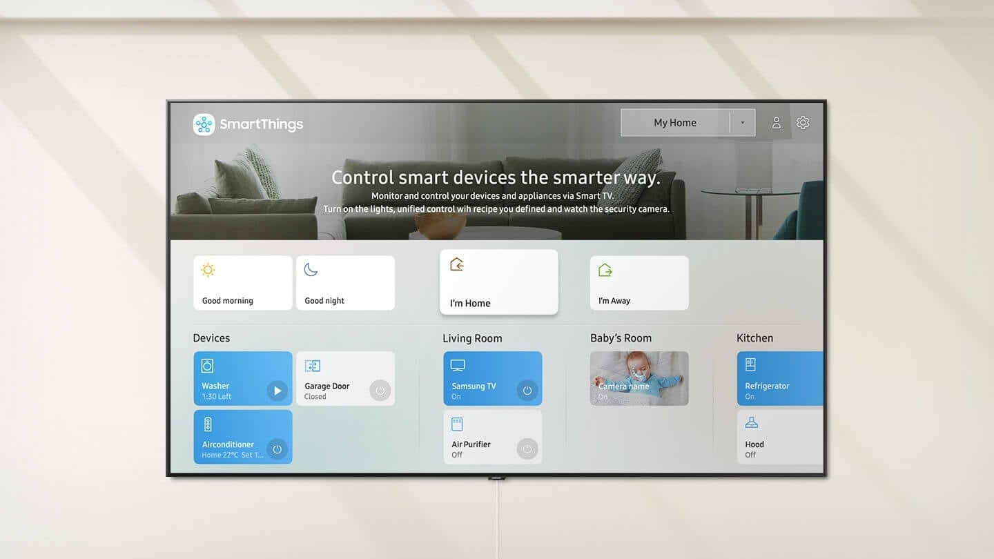 SmartThings app home screen on Smart TV