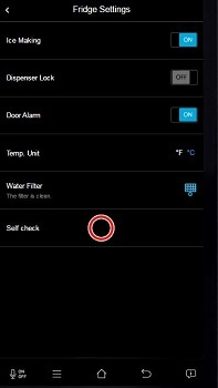 How do I use the Self Check function on my Samsung Family Hub Fridge Freezer?