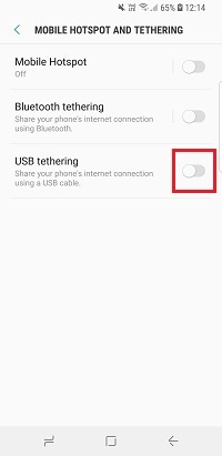 Use the toggle to enable or disable USB tethering