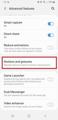 Tap Motions and gestures
