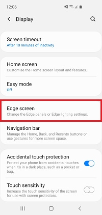 Tap Edge screen