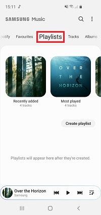 Swipe left or right to select the Playlists section