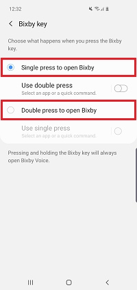 Choose whether to use a single or double press of the Bixby button