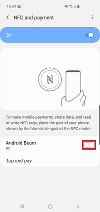 Tap the switch next to Android Beam to turn it on