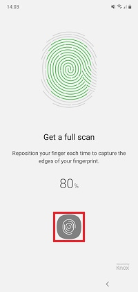 Place the edge of your fingerprint on the sensor, removing it when your device vibrates