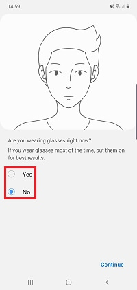 If you wear glasses tap yes, if not tap no